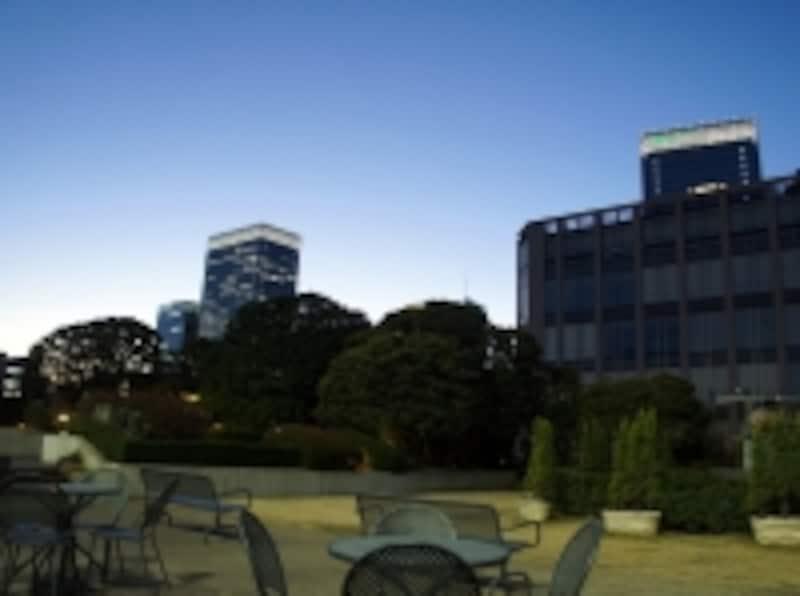 都会のデパートの屋上ガーデンでお茶をしながらちょっと一息
