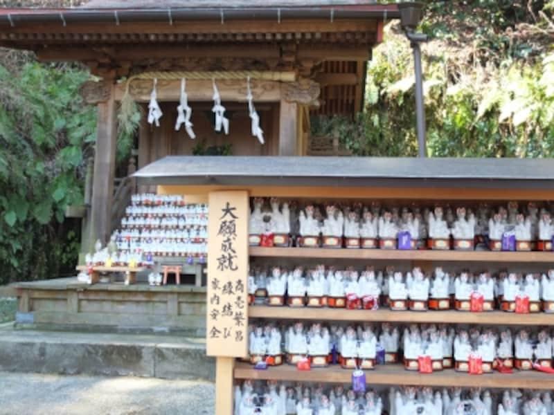 本殿と奉納された白い陶器製のキツネ