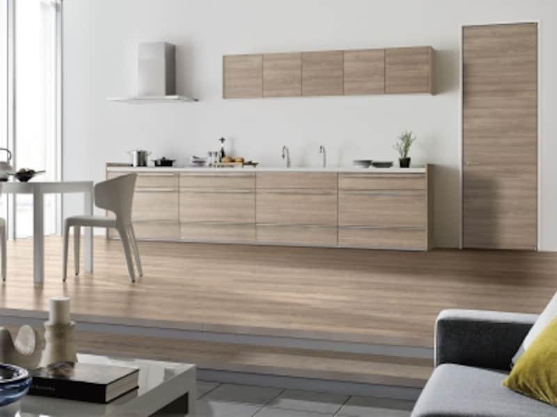 キッチンの扉だけでなく、床材や扉材など、インテリア空間全体でコーディネートも可能。[リシェルSIPLAINSTYLEオープンキッチン壁付I型ウォルナットオレフィン化粧板]undefinedLIXILundefinedhttp://www.lixil.co.jp/