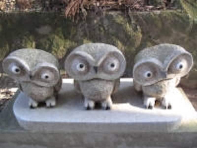 鷲子山上神社のフクロウ像