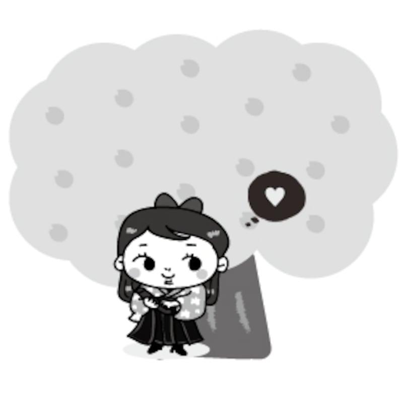 袴姿の女の子 卒業 イラスト 桜 白黒 かわいい