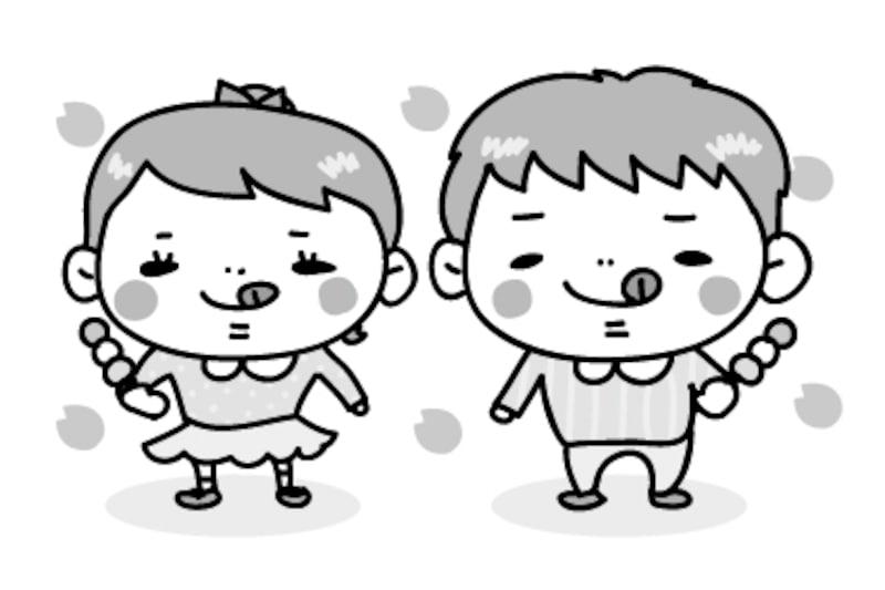 【モノクロ】花より団子の子どもたちです。