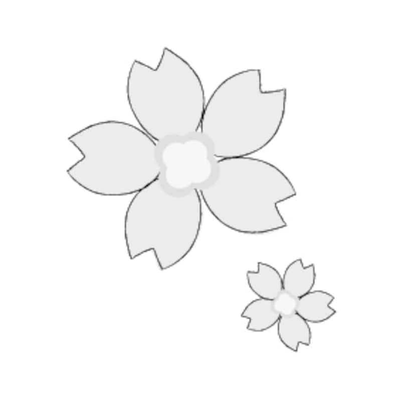 卒業 イラスト 桜の花 白黒 かわいい