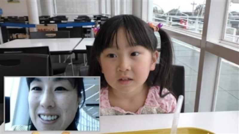 撮影者の顔がピクチャー・イン・ピクチャーで子画面表示される