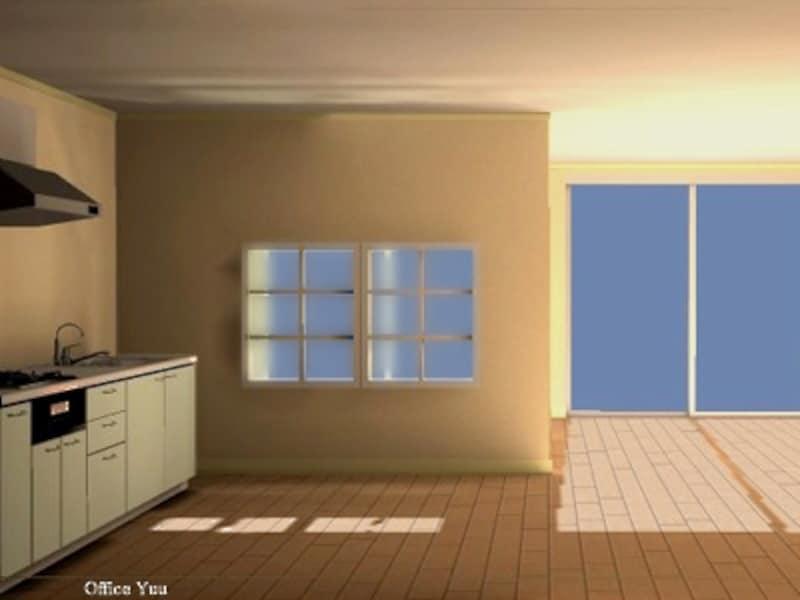 間仕切り壁に室内窓を取り付ければ、光も風も通り抜ける空間になる(一級建築士事務所OfficeYuu)