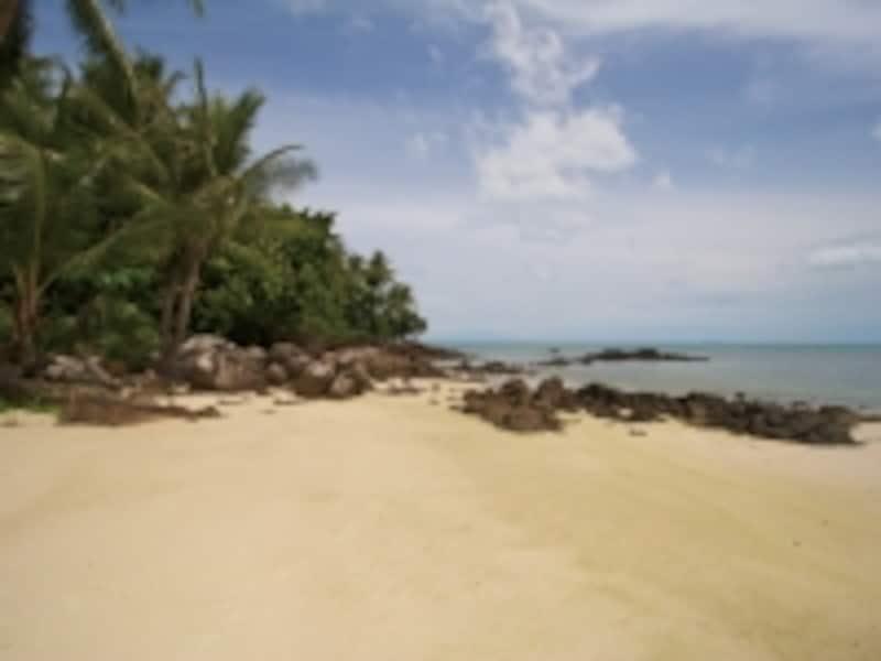 丘陵を降りてゆくとプライベートビーチが。美しい砂浜には貝殻もたくさん!
