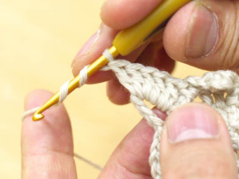 長々編みの糸を2回かけたところ