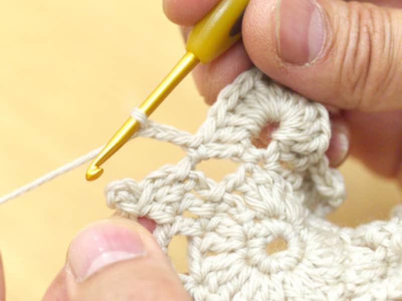 5段め最後の鎖編み3目