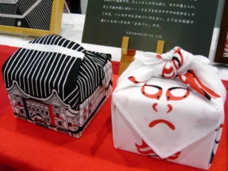歌舞伎座オリジナルまめぐい「お包み歌舞伎座」「隈取小紋」(各980円)