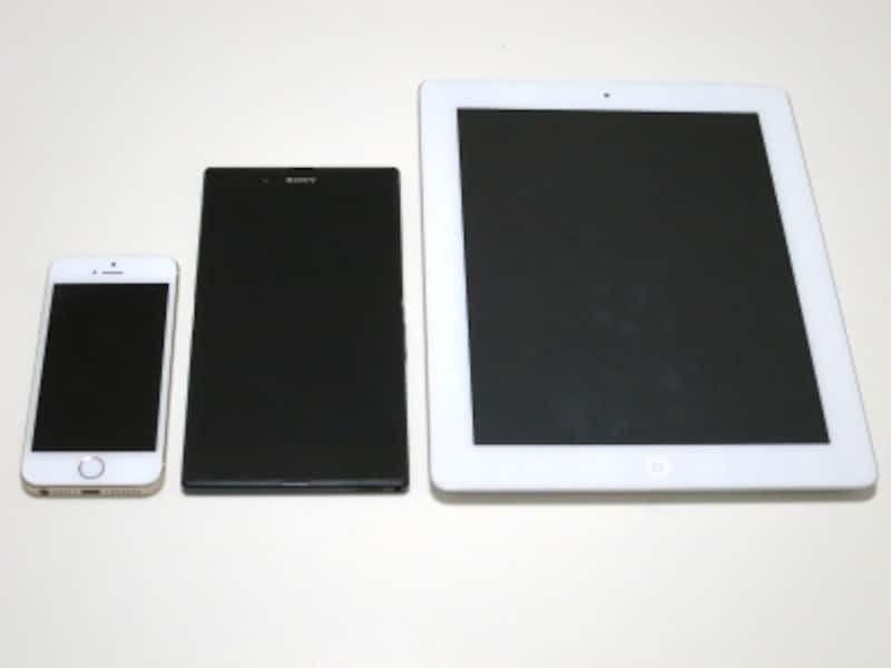 左から、iPhone、Xperia Z Ultra、iPad