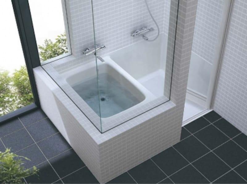 施工性に優れた洗い場を一体成型した浴槽。防水工事が不要なので、2階のバスルームプランにも適する。[洗い場付き浴槽]undefinedTOTO