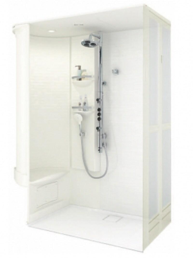 オーバーヘッドシャワー、ゆったりとしたベンチ、収納棚、ダウンライト(LED)、折戸などが組み込まれたプラン。掃除のしやすいカラリ床も搭載。[シャワ―ルーム0816Gタイプ]undefinedundefinedTOTOundefinedhttps://jp.toto.com/