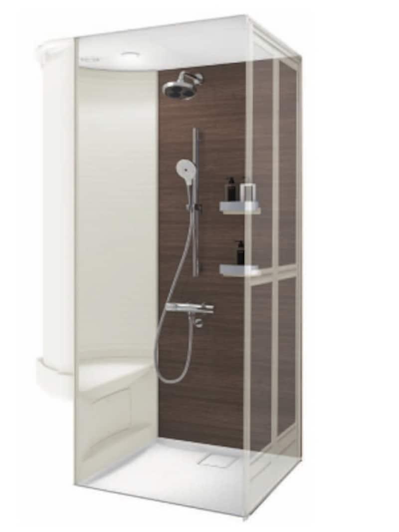 オーバーヘッドシャワーとハンドシャワーを設置したタイプ。ベンチや収納棚、ダウンライト(LED)、折れ戸などを取り入れた、落ち着いた色合いのシャワールーム。[シャワ―ルーム0812Xタイプ]undefinedTOTOundefinedhttps://jp.toto.com/