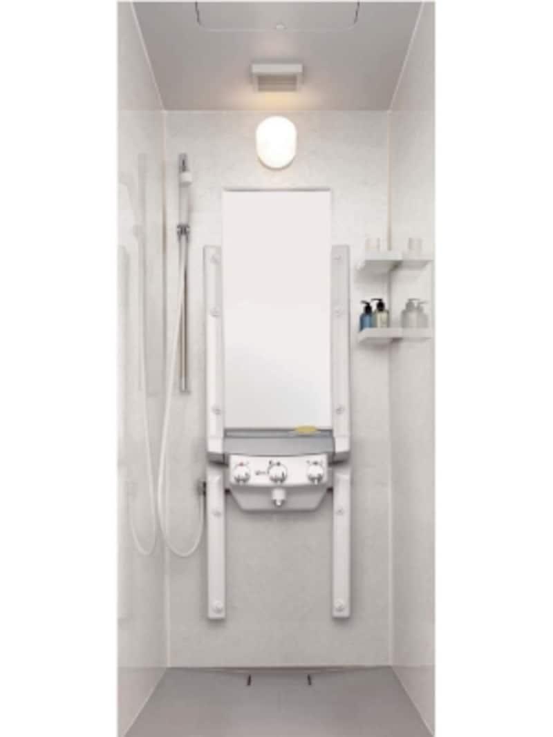 シャワ―だけでお湯につかったように温まる新感覚の入浴スタイル。全身を包み込む霧状のシャワーが特徴。[シャワ―・ド・バス]undefinedLIXILundefinedhttp://www.lixil.co.jp/