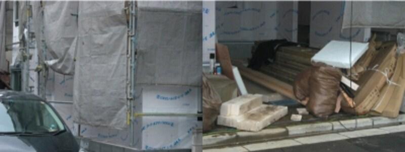 ダメな施工現場の事例。これは建売住宅の現場だが、養生シートがきちんと張られていない。部資材の整理整頓や端材、廃棄物の管理もずさん。部資材に一部は水たまりに浸かっていた