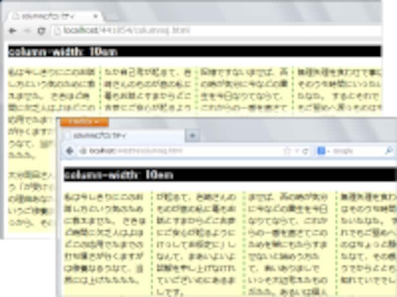 ChromeやFirefoxでの段組表示例