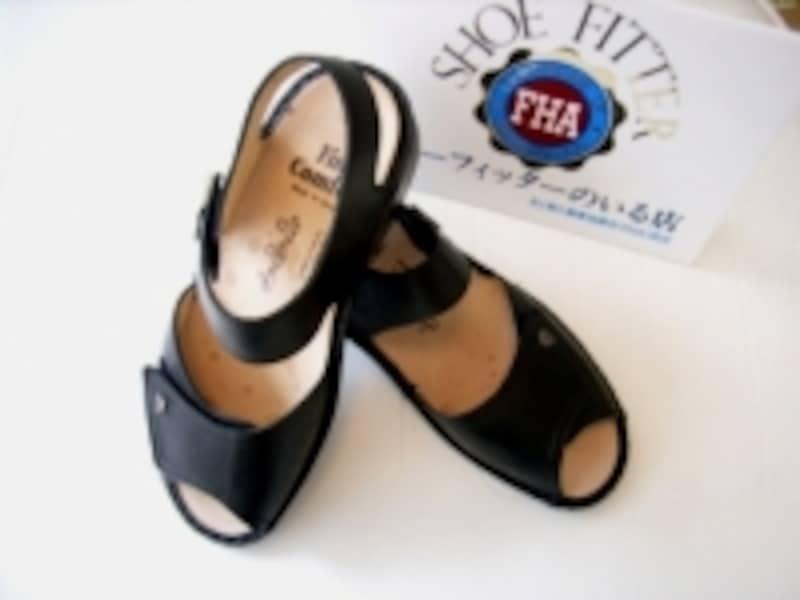 靴の中敷きにアーチサポートのあるコンフォートシューズ