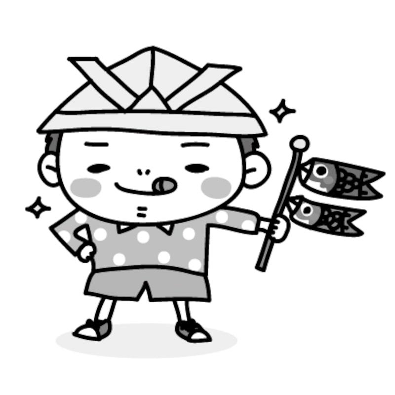 【モノクロ】鯉のぼりを手に得意気な男の子です。【こどもの日のイラスト】