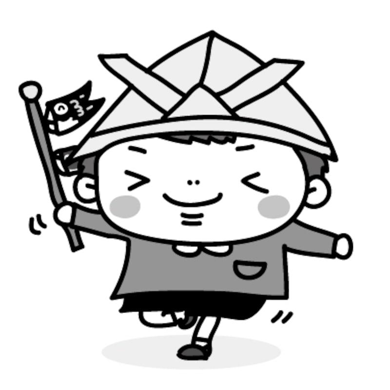 【モノクロ】鯉のぼりを手にはしゃぐ男の子です。【こどもの日のイラスト】