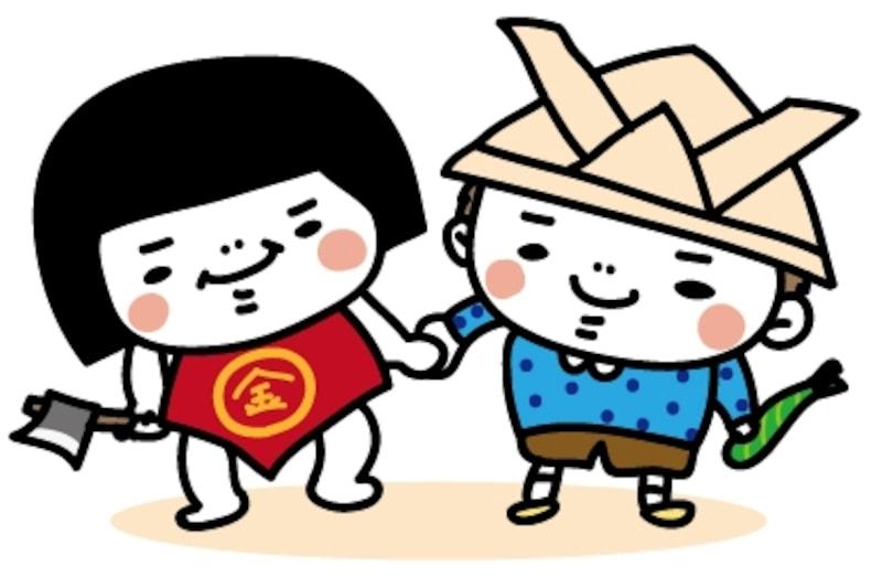 金太郎と男の子 こどもの日 カラー かわいい