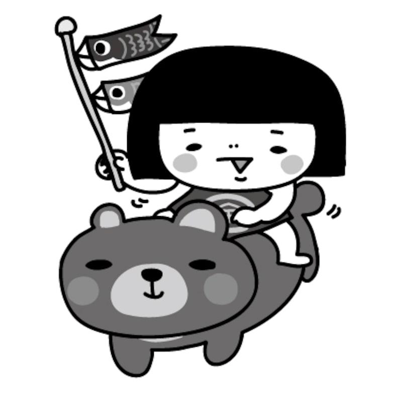 金太郎 こどもの日 イラスト 白黒 かわいい