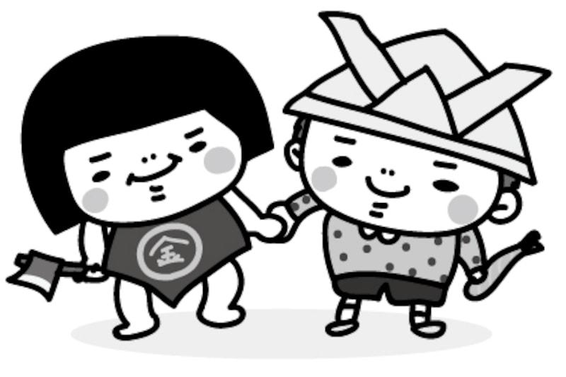 金太郎と男の子 こどもの日 白黒 かわいい