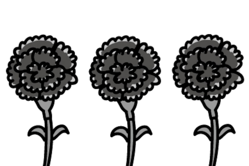 カーネーション 母の日 イラスト 白黒 かわいい