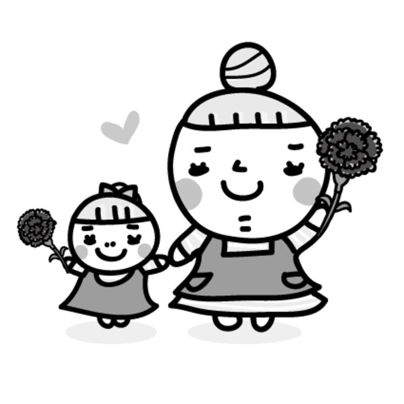 親子 母の日 イラスト 白黒 かわいい