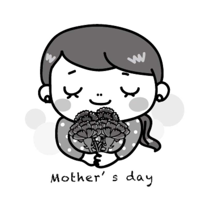 お母さん 母の日 イラスト 白黒 かわいい