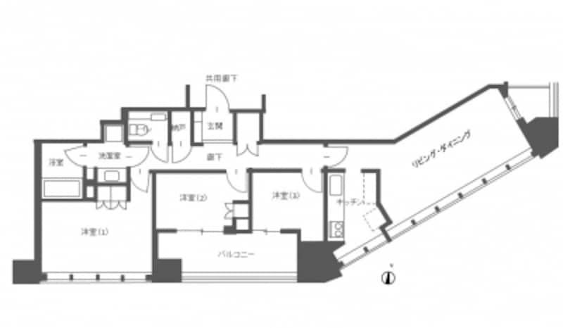 【図3】スター型タワーマンションの角住戸の間取り例