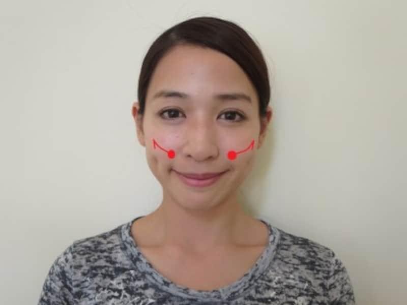 頬を45度に引き上げる練習