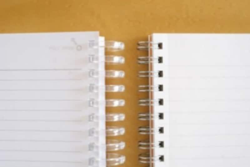 「ツイストリング・ノート」(左)とダブルリングノート(右)のリング穴の間隔は「「1/3インチピッチ」で同じものが多い