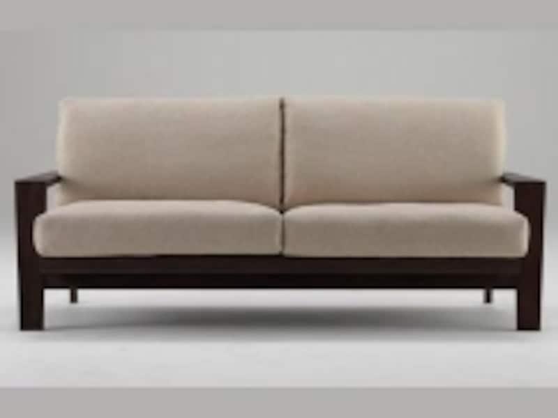 アクタスのSIONという名前のソファ。すっきりとしたフォルムで、マホガニーをフレームに使った高級感のあるソファ。(画像:アクタス)