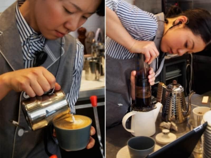左:エスプレッソにフォームミルクを注いでカプチーノを作ります。右:エアロプレスでコーヒーを抽出中。