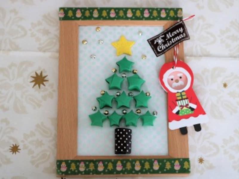 ラッキースターをツリー型に並べて作るクリスマスカード