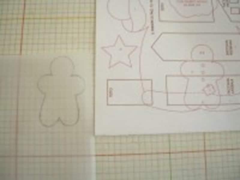 型紙を写す際は、型が透けて見えるような、白くて薄い紙を使用。作業は、平らな所でしてくださいね