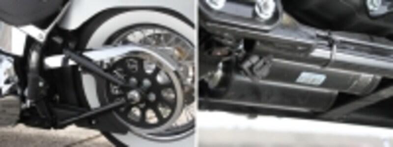 [左]ソフテイルフレームの特徴がこのライン[右]フレーム下部に仕込まれた特性サスペンション