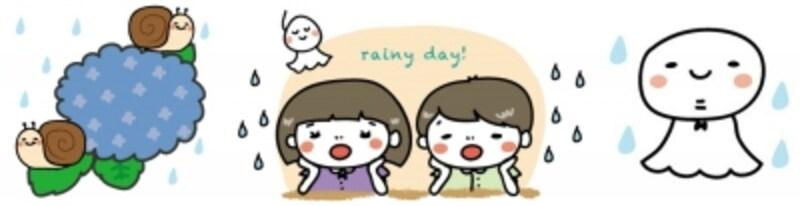 あじさいやかたつむりなど梅雨のイラストカット