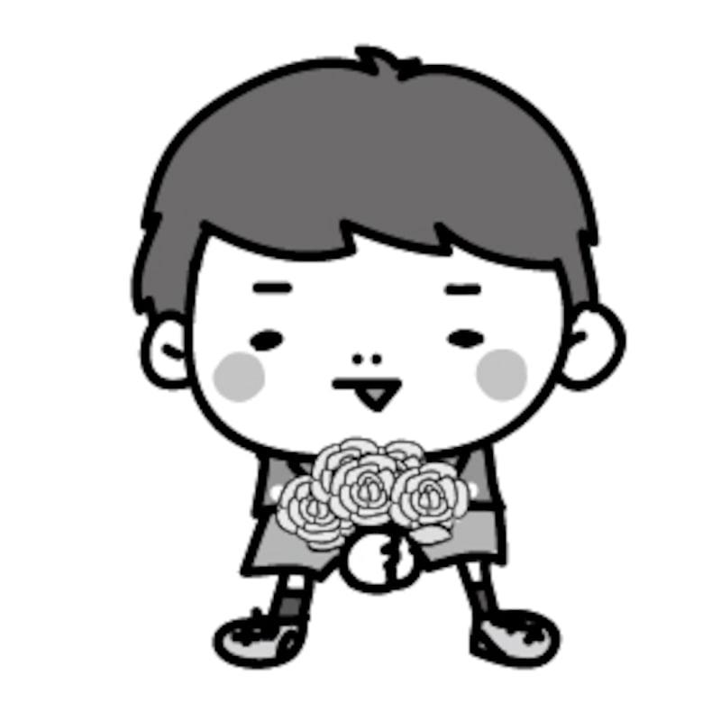 男の子 父の日 イラスト 白黒 かわいい