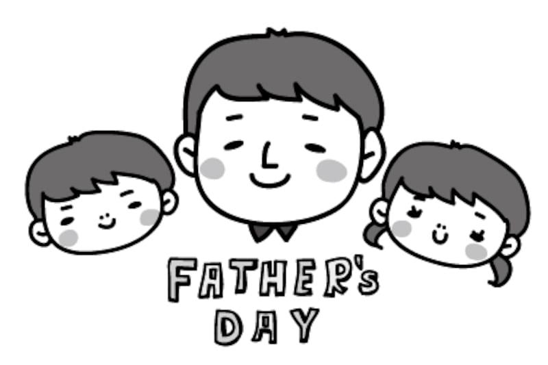 お父さんとこども 父の日 イラスト 白黒 かわいい