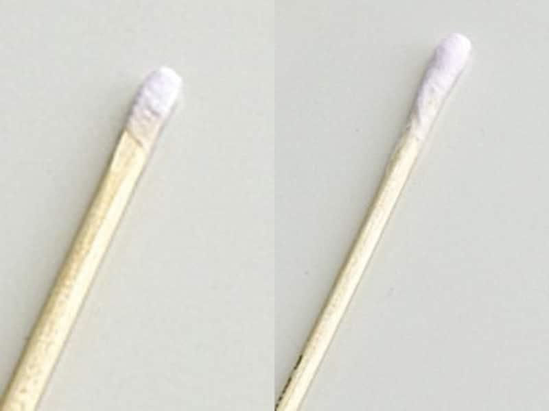 コットンスティックの作り方3:左/薄めに巻いたコットンスティック、右/厚めに巻いたコットンスティック