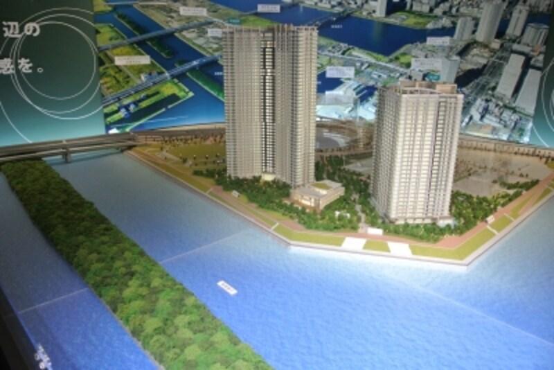 東京ワンダフルプロジェクトundefinedスカイズundefinedタワー&ガーデンとベイズundefinedタワー&ガーデンの完成予想模型