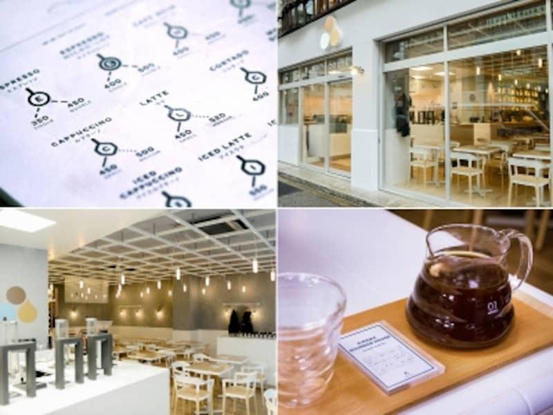 COUTUME青山店。左上:メニューのデザインが新鮮。右下:スチームパンクで抽出されたコーヒーは、トレイの上に美しくセットされてたっぷり2杯分。