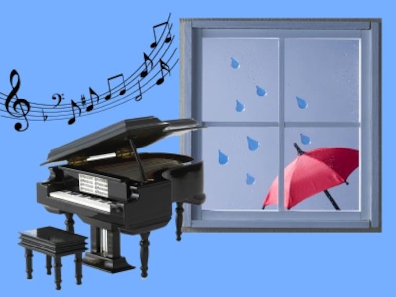 ピアノと雨模様のイラスト