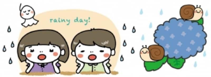 梅雨 イラスト あじさい かわいい 無料 雨