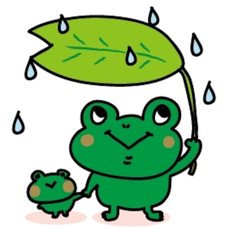 かえるの親子 梅雨 イラスト カラー かわいい