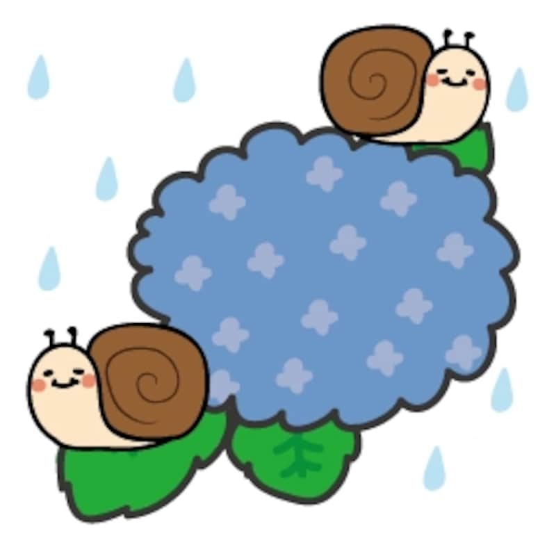 かたつむり 梅雨 イラスト カラー かわいい