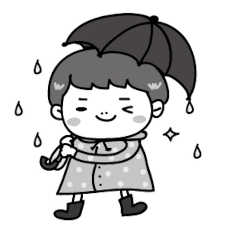 男の子 梅雨 イラスト 白黒 かわいい