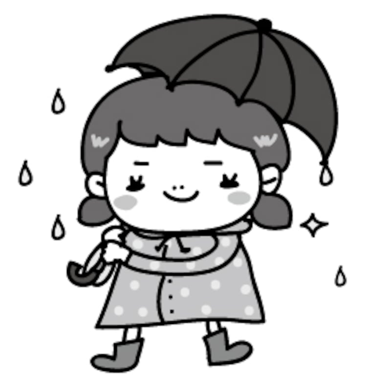 女の子 梅雨 イラスト 白黒 かわいい
