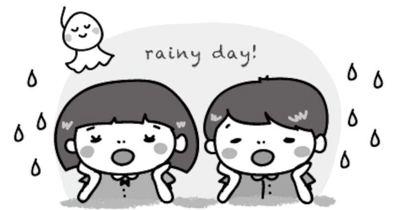 子ども 梅雨 イラスト 白黒 かわいい